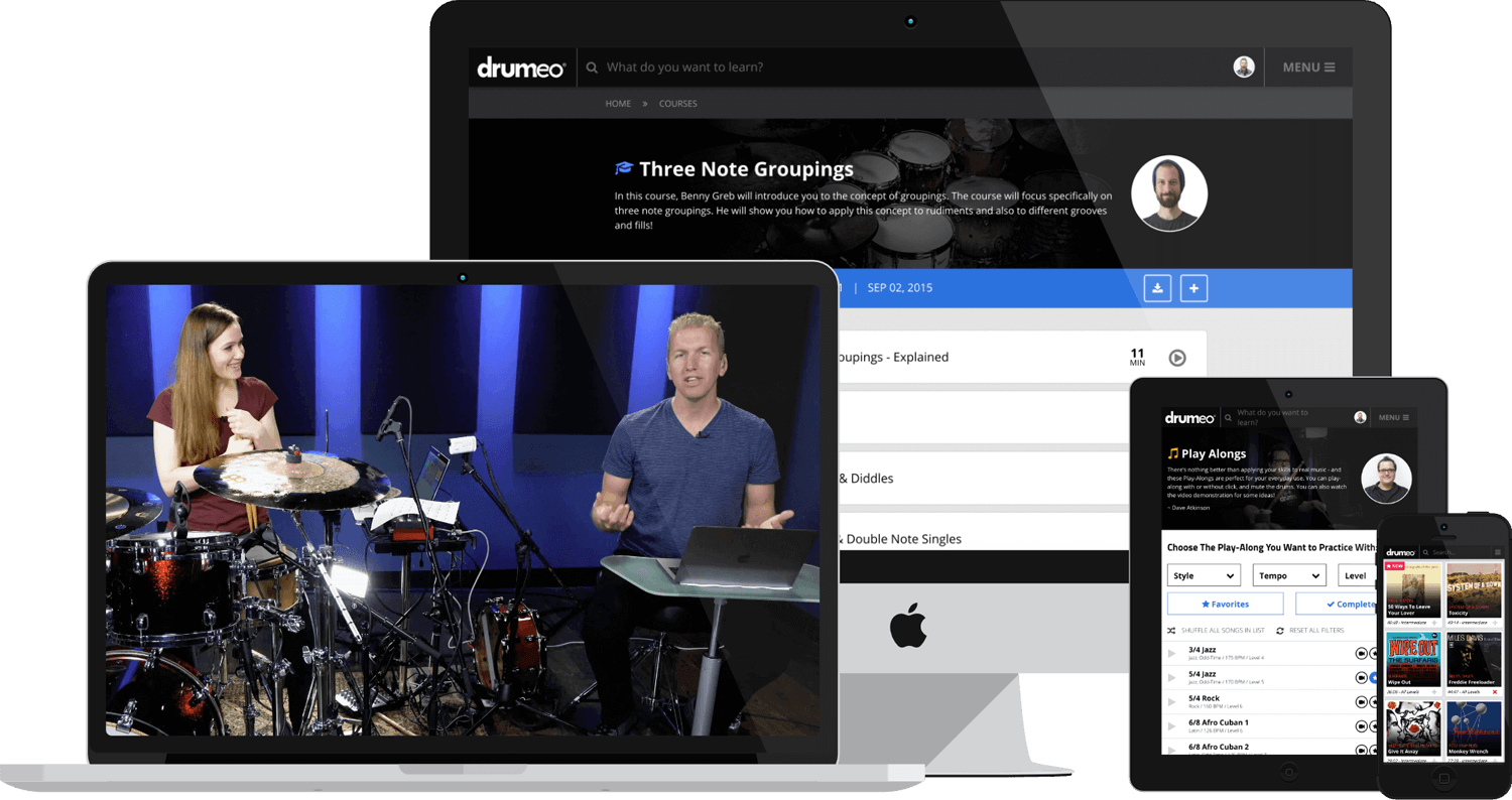 Anika Niles, and Jared Falk in one of Drumeo's highly rated online drum lessons